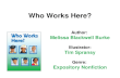 Who Works Here? Author: Melissa Blackwell Burke Illustrator: Tim Spransy Genre: Expository Nonfiction.