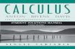 Calculus, Student Solutions Manual - Anton, Bivens & Davis