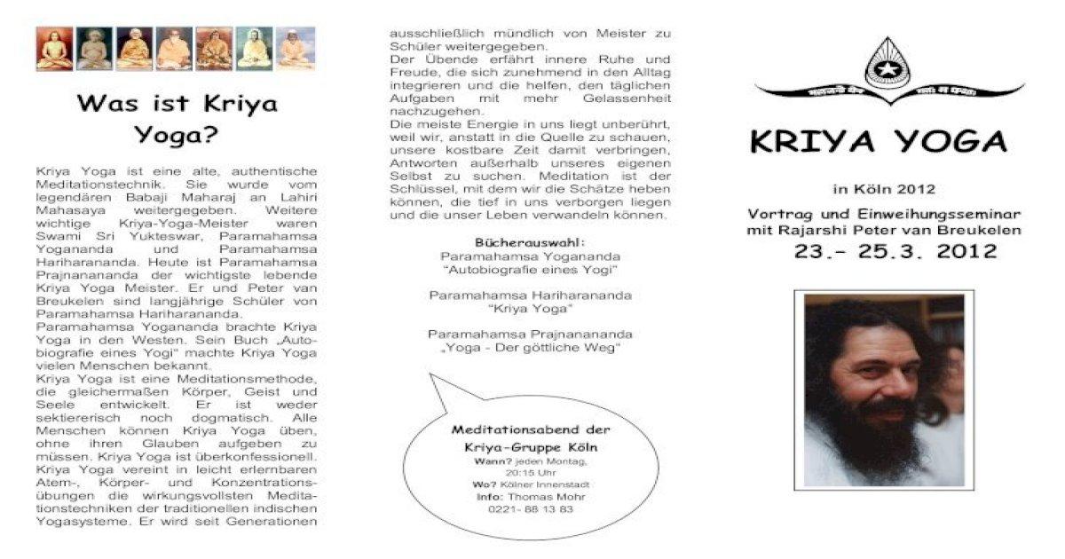 Was Ist Kriya Yoga Kriya Yoga Wichtige Kriya Yoga Meister Waren Swami Sri Yukteswar Paramahamsa Yogananda Pdf Document