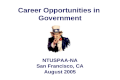 Career Opportunities in  Government