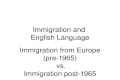 Immigration and English Language Immigration from Europe (pre-1965) vs. Immigration post-1965.