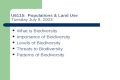 U6115: Populations & Land Use Tuesday July 8, 2003 What is Biodiversity Importance of Biodiversity Levels of Biodiversity Threats to Biodiversity Patterns.