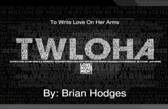 By: Brian Hodges. Background Information This picture was created by Ian Williams for TWLOHA. To Write Love on Her Arms is a non-profit movement dedicated