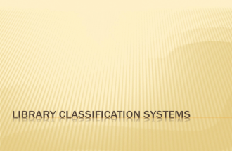 Library classification   2011