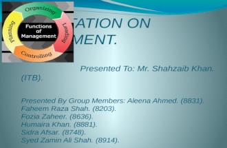 Presentation on Management