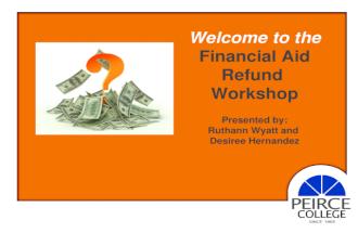 Peirce College Aid Refund Workshop