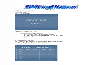OVMS Jeopardy Game Tutorial