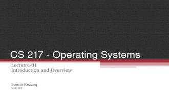 CS 217 - Operating Systems Lectutre-01 Introduction and Overview Somia Razzaq NFC IET.