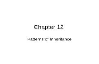 Chapter 12 Patterns of Inheritance. BACK IN THE DAY…. Theories on Inheritance –Bloodlines –Heridity occurs within species –Traits are transmitted directly.