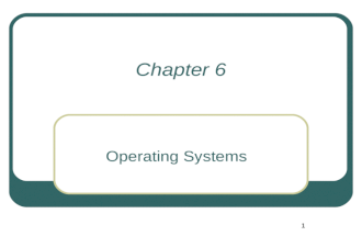 1 Chapter 6 Operating Systems. 2 Learning outcomes Describe the functions of the Operating System and its components. Explain where the operating system.