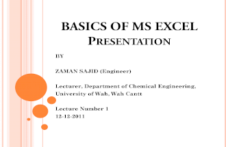 Basics of Ms Excel Lecture 1