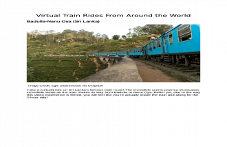 Virtual Train Rides From Around the World