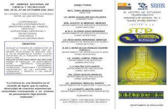 TRIPTICO 18º SEMANA NAL CIENCIA Y TECNOL OCTUBRE 2011