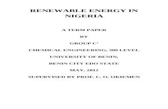 A REPORT ON RENEWABLE ENERGY IN NIGERIA