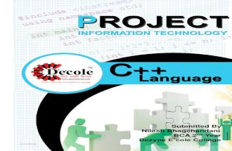 Nilesh Bhagchandani ,Project on C++ ,Final Year BCA ,Dezyne E'cole College