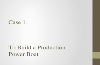 Case 1. To Build a Production Power Boat. A Production Power Boat The boat itself is Length 8 M, Beam 2.5 M, DISP 3200 KG, HP 225 Yamaha Outboard. What