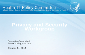 Privacy and Security Workgroup October 14, 2014 Deven McGraw, chair Stan Crosley, co-chair.