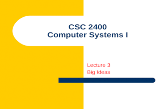 CSC 2400 Computer Systems I Lecture 3 Big Ideas. 2 Big Idea: Universal Computing Device All computers, given enough time and memory, are capable of computing