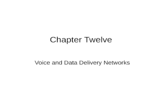 Chapter Twelve Voice and Data Delivery Networks. 2 Introduction General, we used to go into either – data communications or voice communications Today,