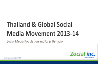 Thailand and Asia Social Media Data 2014 by Zocial, inc