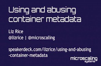 TIAD 2016 : Using and abusing container metadata