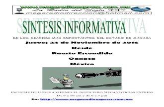 Sintesis informativa 24 de noviembre de 2016
