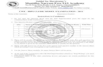 Ibps Cswe Clerk 2011test Manidhaneyam