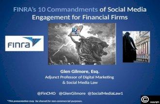 Social Media For Financial Services: FINRA's 10 Commandments