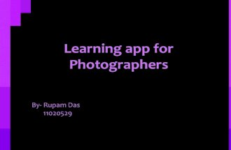 Learning app for photographer