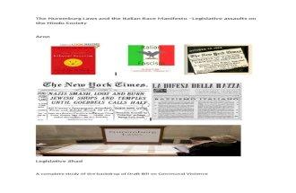 The Nuremburg Laws and the Italian manifesto –Legislative assaults on the Hindu Society-Aron