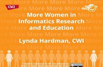 More Women in Informatics Research & Education, Oviedo July 2014